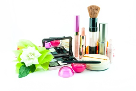 makeup brush and cosmetics set, on a white background isolated - decorative cosmetics for makeup photo