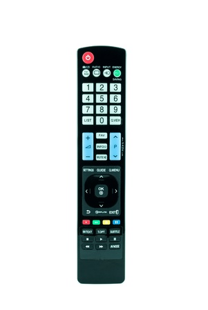 TV remote control isolated on white - Television remote control Stock Photo