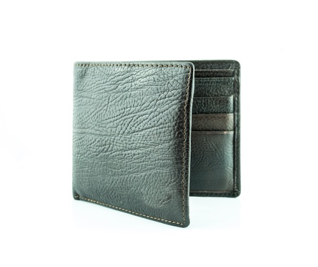 brown wallet with credit cards on a white background Stock Photo
