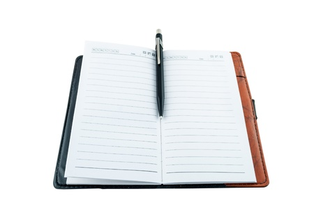 Open blank note book with pencil or pen isolated on white