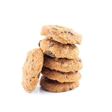 close-up image of chocolate chips cookies - Chocolate homemade pastry biscuits isolated on white background Stock Photo