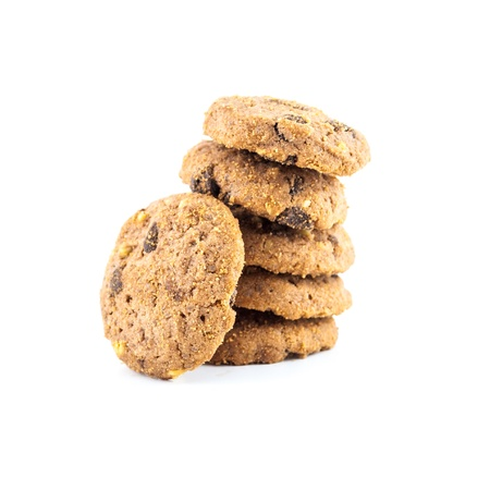 close-up image of chocolate chips cookies - Chocolate homemade pastry biscuits isolated on white background photo