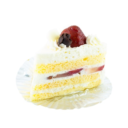 sweet course: strawberry cake - piece of cake with strawberry