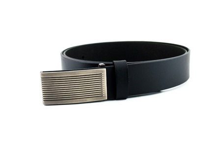 Black leather belt isolated on white background photo