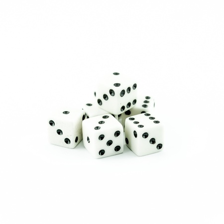 luckiness: white old dice on a white background - button white casino dices Stock Photo
