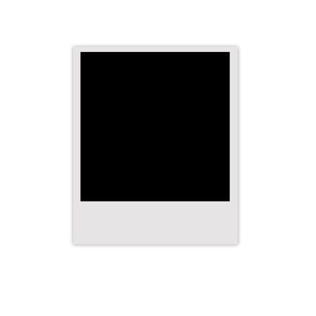 black picture frame: Polaroid photo frame isolated on white background