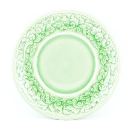 floral ornament green plate isolated on white background Stock Photo - 20897052