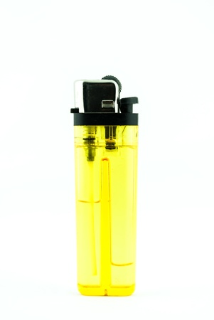 butane: A used butane yellow lighter - lighter isolated on the white