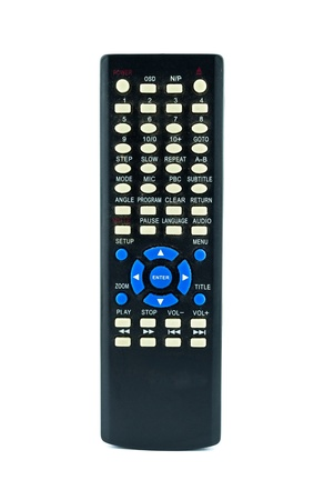 remote controls: Old dirty remote console isolated on white background Stock Photo
