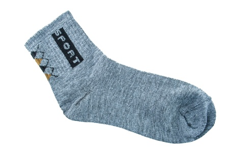 gray sock sport isolated on a white background photo