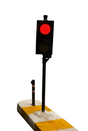 red traffic light: Red traffic light isolated on white - Light signal control transport