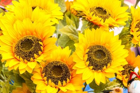 Artificial sunflowers bunch photo