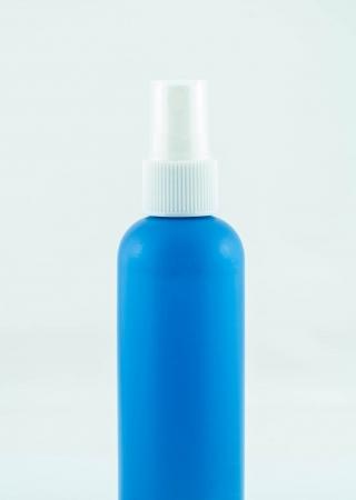 antiseptic: Blue spray medicine antiseptic drugs plastic Bottle on white Stock Photo