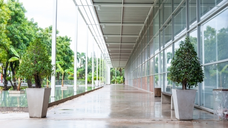 Outdoor corridor of architecture perspective by side building