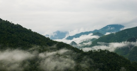 Foggy hills - mountains landscape mist - mist and mountain photo