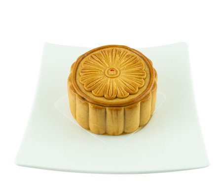 Mid-Autumn Festival of Chinese moon cake on dish photo