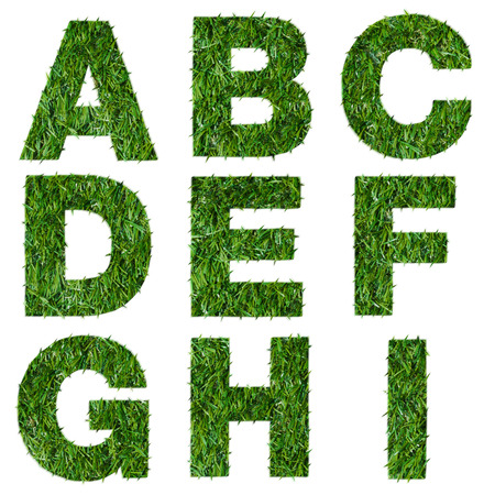 Letters a,b,c,d,e,f,g,h,i made of green grass isolated on white Stock Photo