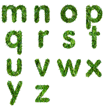 r p m: Letters m,n,o,p,q,r,s,t,u,v ,w,x,y,z made of green grass isolated  Stock Photo