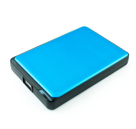 external hard disk drive: Portable External Hard Drive Disk isolated on white Stock Photo