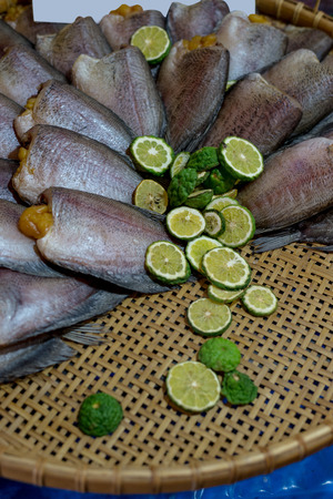 fishy: Dried Sepat Siam or Snakeskin gourami with Kaffir lime to protect fishy smell