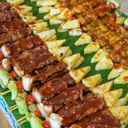cattle grid: Beef and pork barbecue prepare to eat Stock Photo