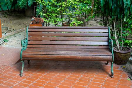 park wooden bench in garden