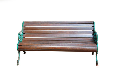 park wooden bench isolated on white background Stock Photo