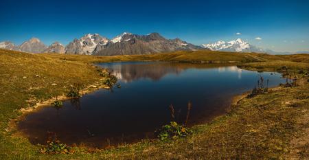 Koruldi Lake near Mestia in Upper Svaneti region, Georgia