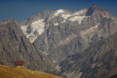 House in the mountains. Upper Svaneti. the main Kavkaz ridge. Georgia