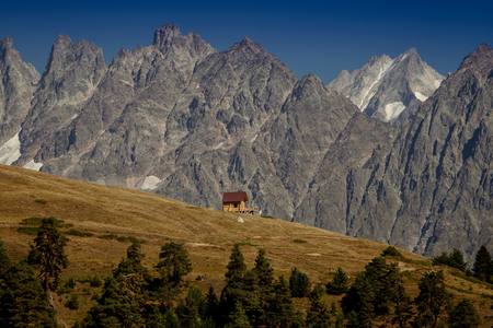 House in the mountains. Upper Svaneti. the main Kavkaz ridge. Georgia