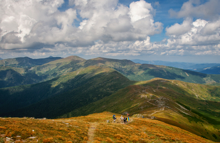 tourists are resting in the mountains. Walks in the mountains. Carpathians. Ukraine Stock Photo