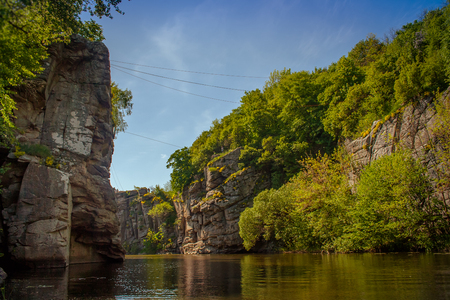 Terrific view of the River Canyon on a sunny day. Buky Canyon on the Hirs'kyi Takich river in Ukraine Stok Fotoğraf