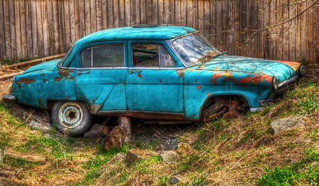 The abandoned old Soviet car of the times of the USSR