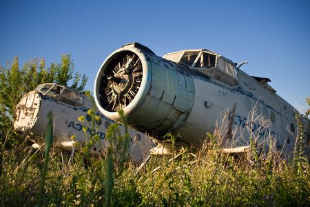 Abandoned airport. Old Soviet aircraft Antonov An-2 Фото со стока