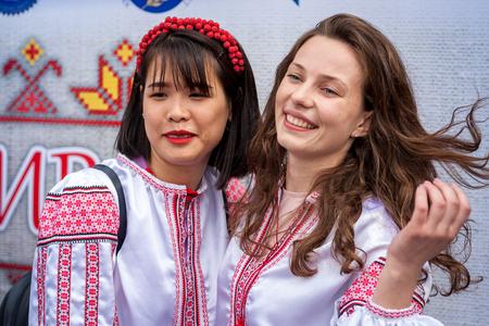 Khmelnitsky, Ukraine - May 17, 2018 girl  in traditional Ukrainian clothes at the Parade of Vyshyvanka. Editorial
