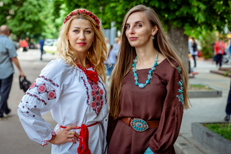 Khmelnitsky, Ukraine - May 17, 2018. A girls in traditional Ukrainian clothes at the Parade of  Vyshyvanok.