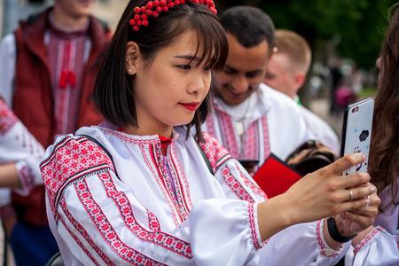 Khmelnitsky, Ukraine - May 17, 2018.girl  in traditional Ukrainian clothes at the Parade of Vyshyvanka. Editorial