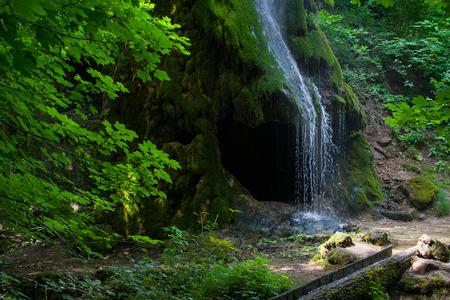 Grotto, an artificial waterfall. Malievtsy, Khmelnitsky region, Ukraine
