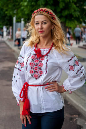 A girl in traditional Ukrainian clothes at the Parade of  Vyshyvanok