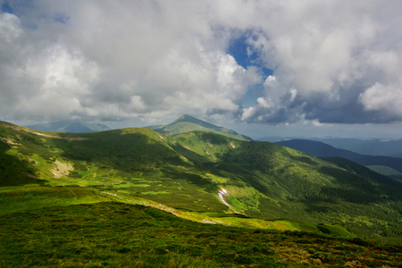 The road in the Carpathian mountains.  Ukraine Stock Photo