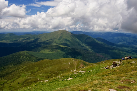 Beautiful mountains and blue sky in the Carpathians. Ukraine Stock Photo