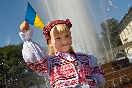 Khmelnitsky, Ukraine - August 24, 2011. A girl in traditional Ukrainian clothes  on the holiday Independence Day of Ukraine.