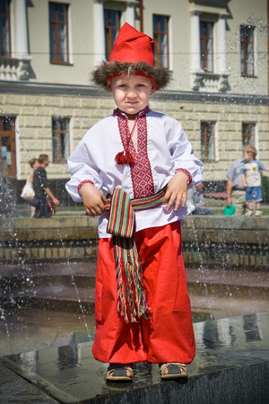 Khmelnitsky, Ukraine - August 24, 2011. A boy in traditional Ukrainian clothes  on the holiday Independence Day of Ukraine.