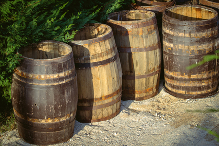 Old barrels for wine in the open air