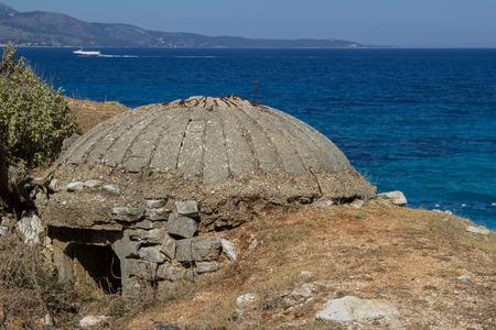 Defensive bunker on the seashore in Albania