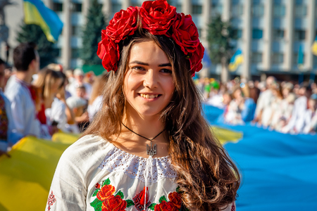 A girl in traditional Ukrainian clothes at the Parade of  Vyshyvanok.