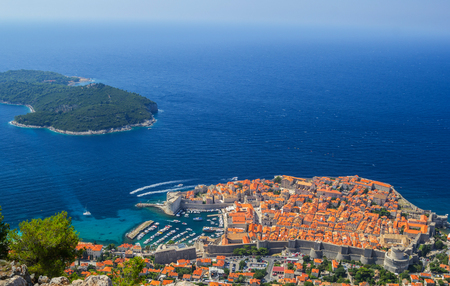 Overview to the old town of Dubrovnik, Croatia 版權商用圖片