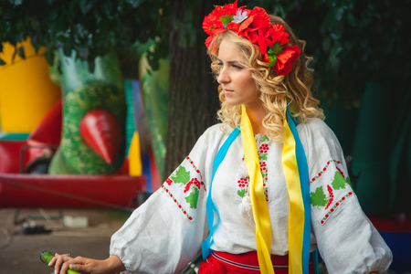 Khmelnitsky, Ukraine - July 12, 2015. A girl in traditional Ukrainian clothes at the Parade of  Vyshyvanok. Editorial