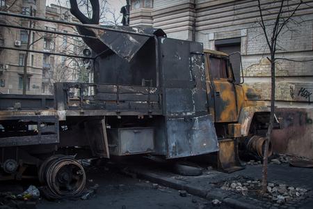 Kiev Ukraine. February 23, 2014. Burned cars on the streets of the city during protests on EuroMaidan. Redakční