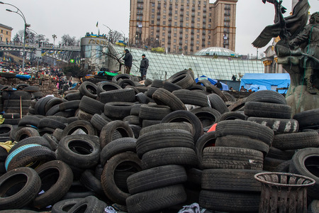 Kiev Ukraine. February 23, 2014. The central street of the city after the storming of the barricades during the EuroMaidan. Redakční